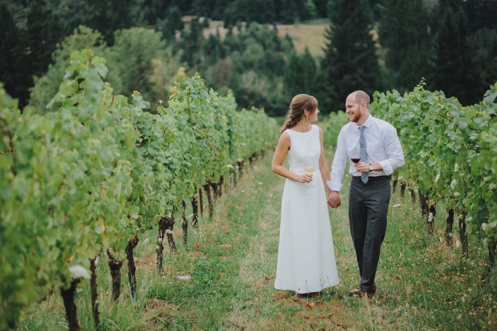 Bride and groom at their vineyard wedding reception.