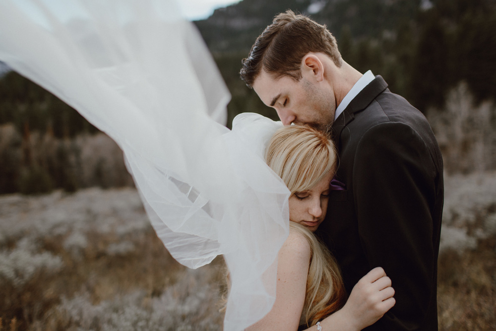 A bridal photo in the mountains by Portland wedding photographer Catalina Jean