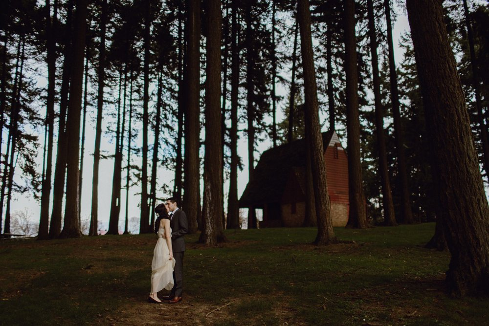 A wedding portrait in the forest by Catalina Jean Portland Wedding Photographer