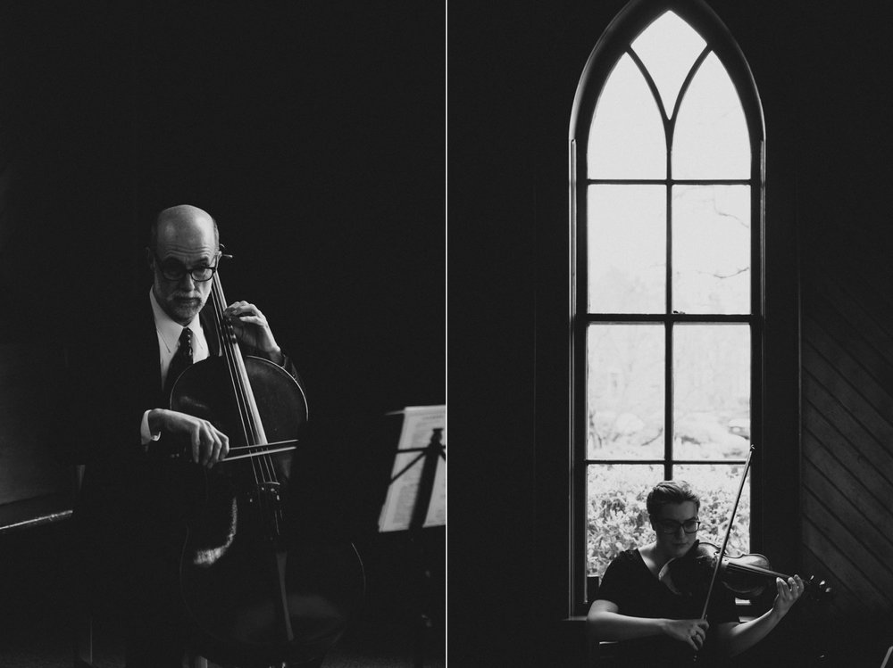 A candid photo of musicians playing at an Oaks Pioneer Church Wedding