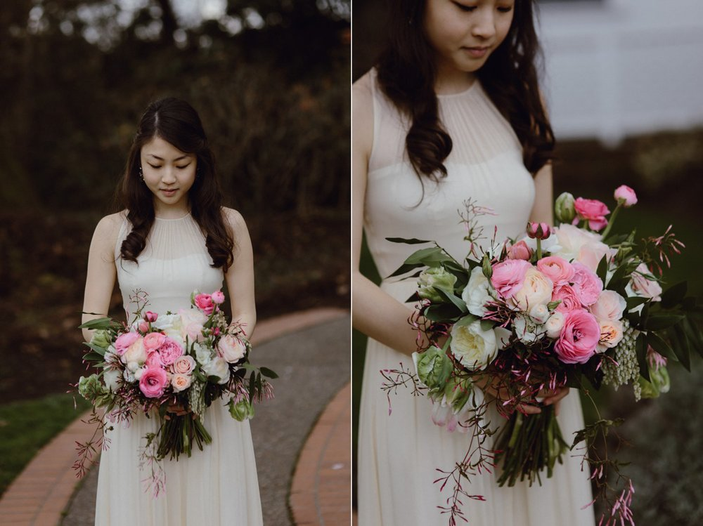 The bride with her bouquet at her Portland Oregon wedding shot by Catalina Jean Photography