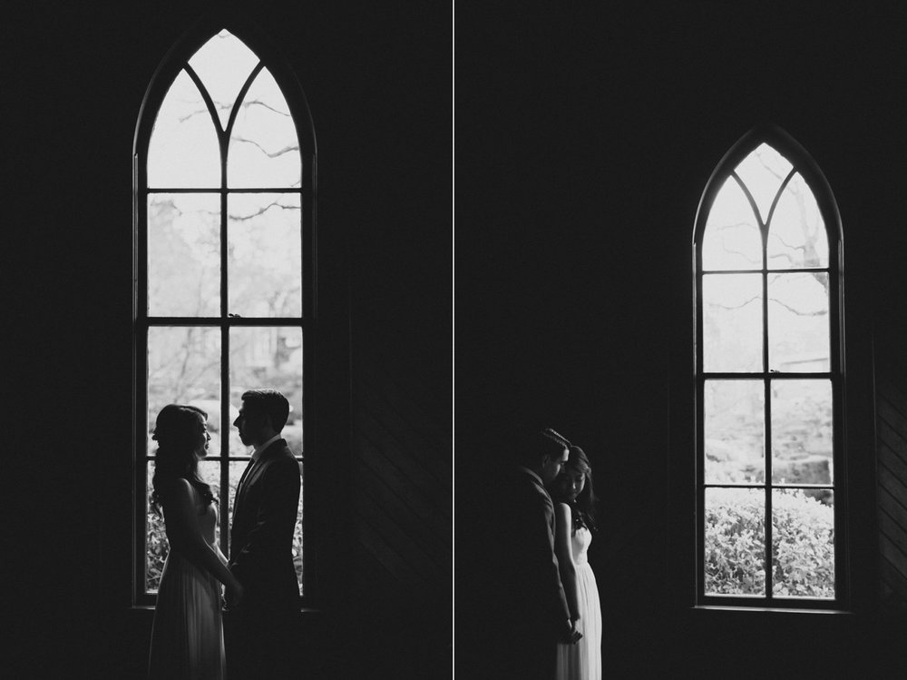 Window portraits of the wedding couple at Oaks Pioneer Church