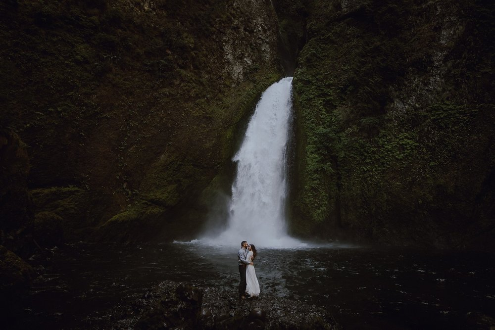 A couple at their Wahclella Falls Elopement by Catalina Jean Portland Wedding Photographer