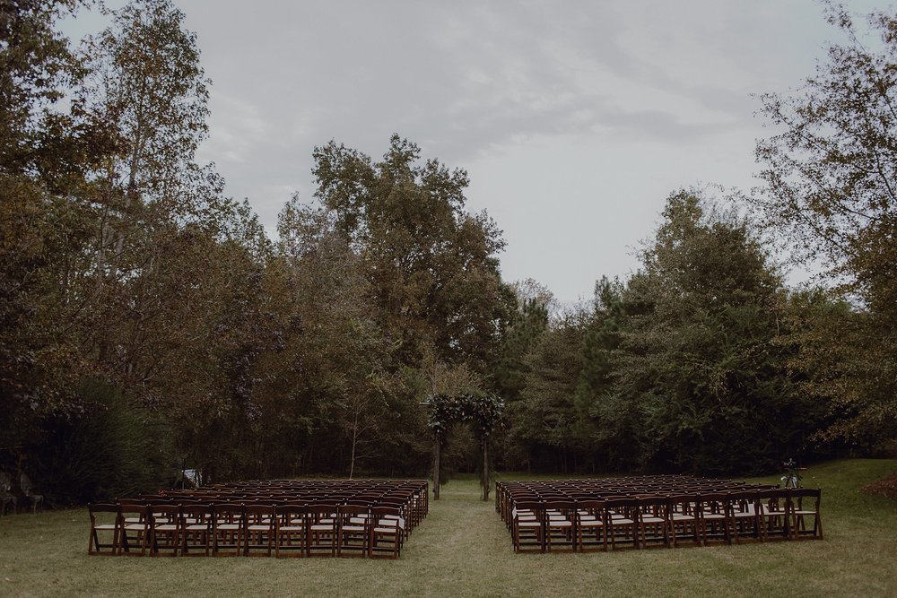 Wedding ceremony decor at Sweet Olive Farm by Catalina Jean Photography