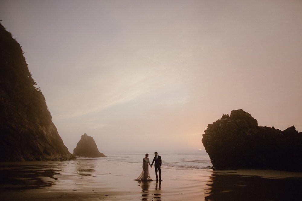 Oregon coast wedding photo at sunset.