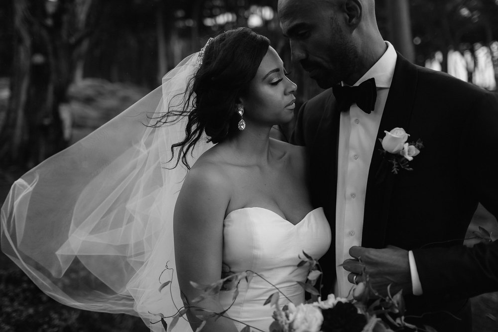 Black and white wedding photo in SF
