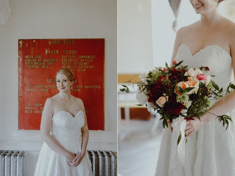 A bride at her wedding at Headlands Center for the Arts