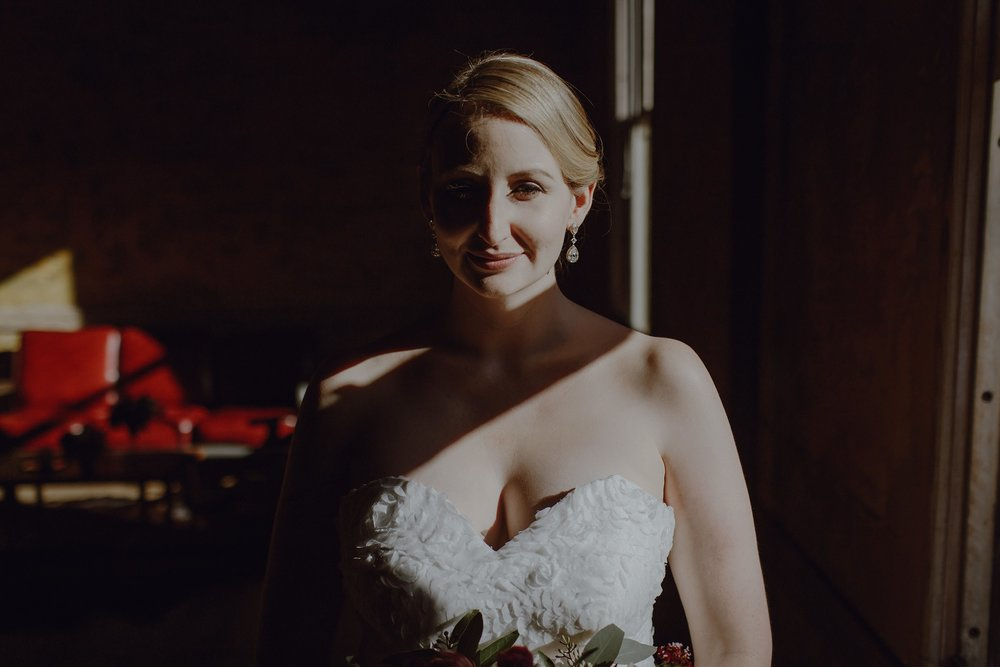 A bride at her Headlands Center for the Arts Wedding