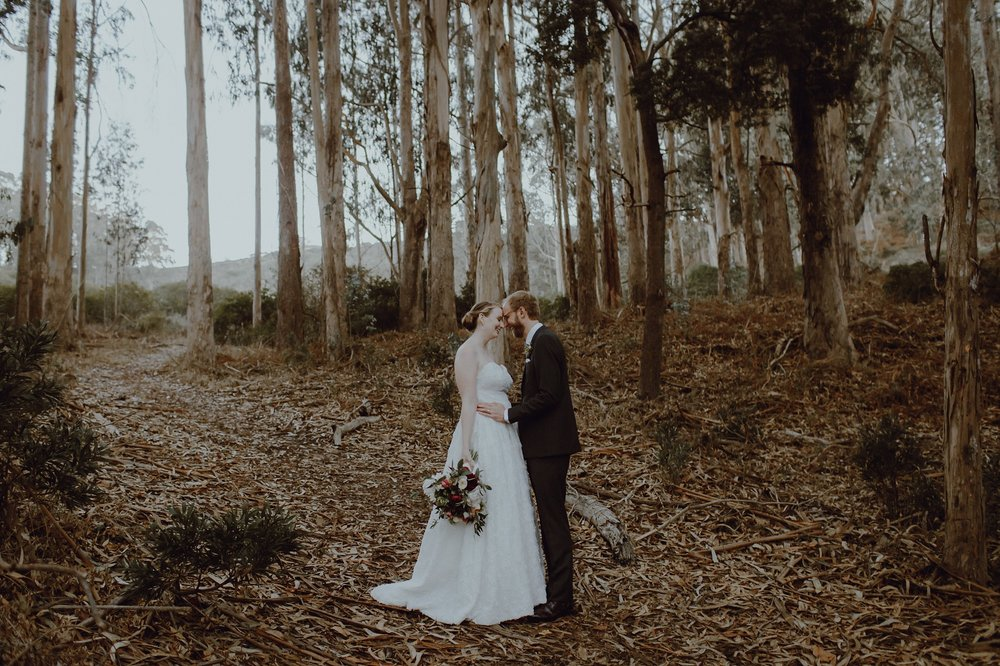 A wedding photo at the Headlands Center for the Arts