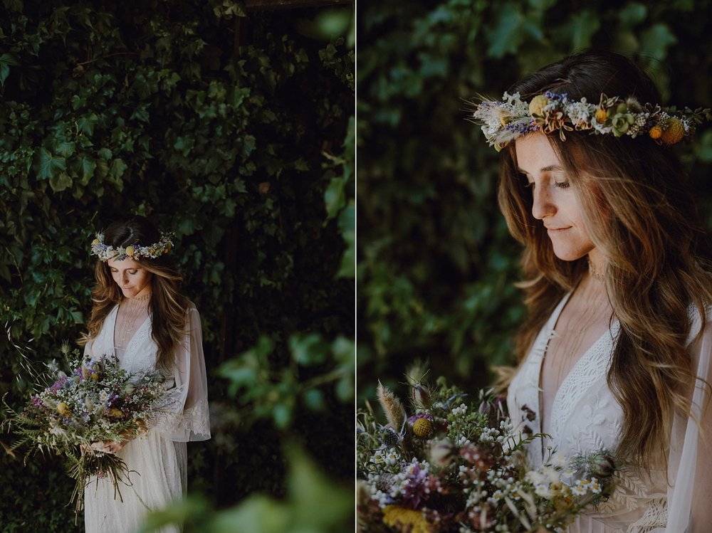 A bride with a wild flower crown