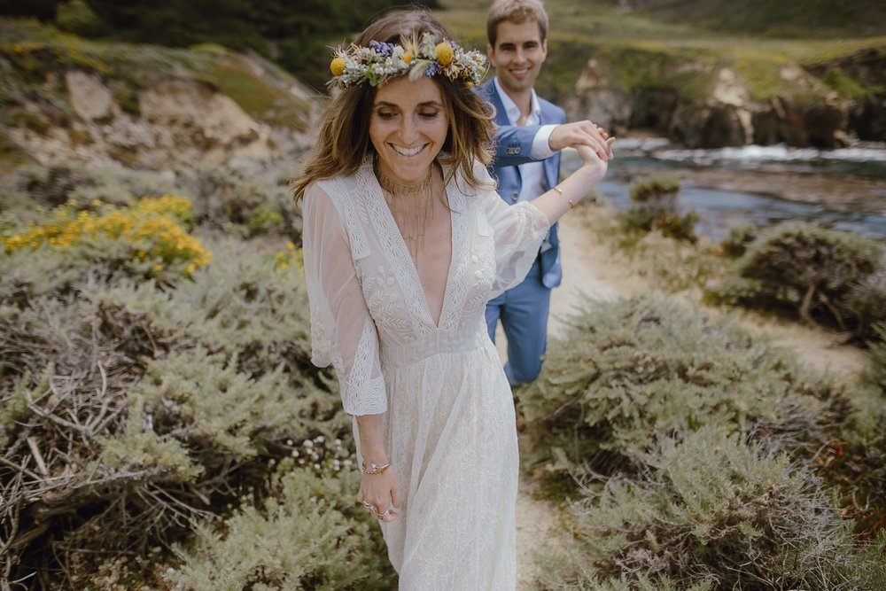 A bride and groom at their Big Sur wedding