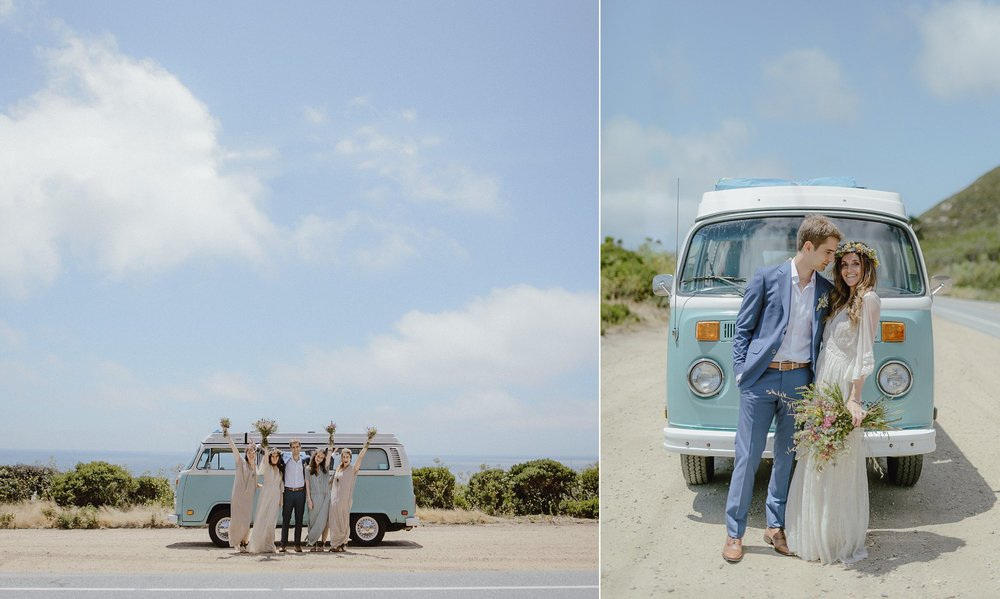 Wedding photos with a VW bus