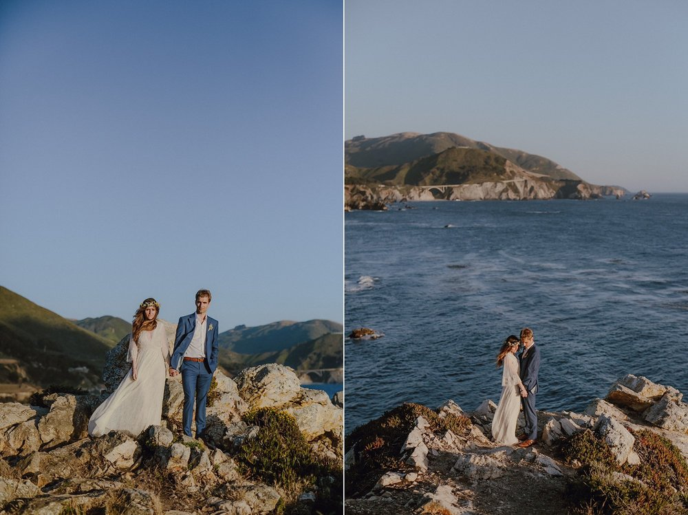 A bride and groom with the coastline of Big Sur