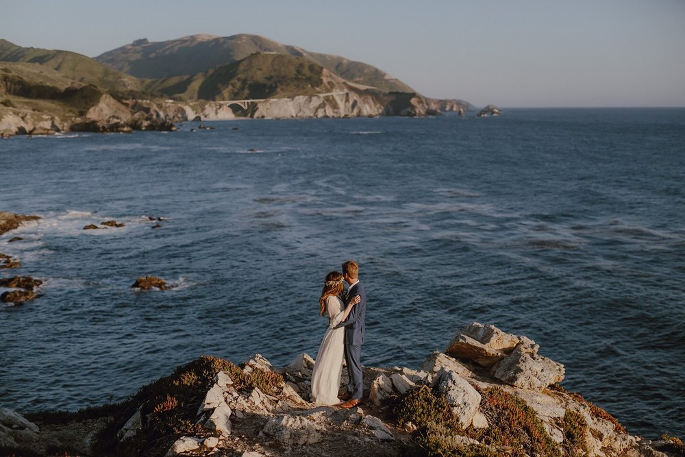 Wedding photo with Bixby Bridge in Big Sur
