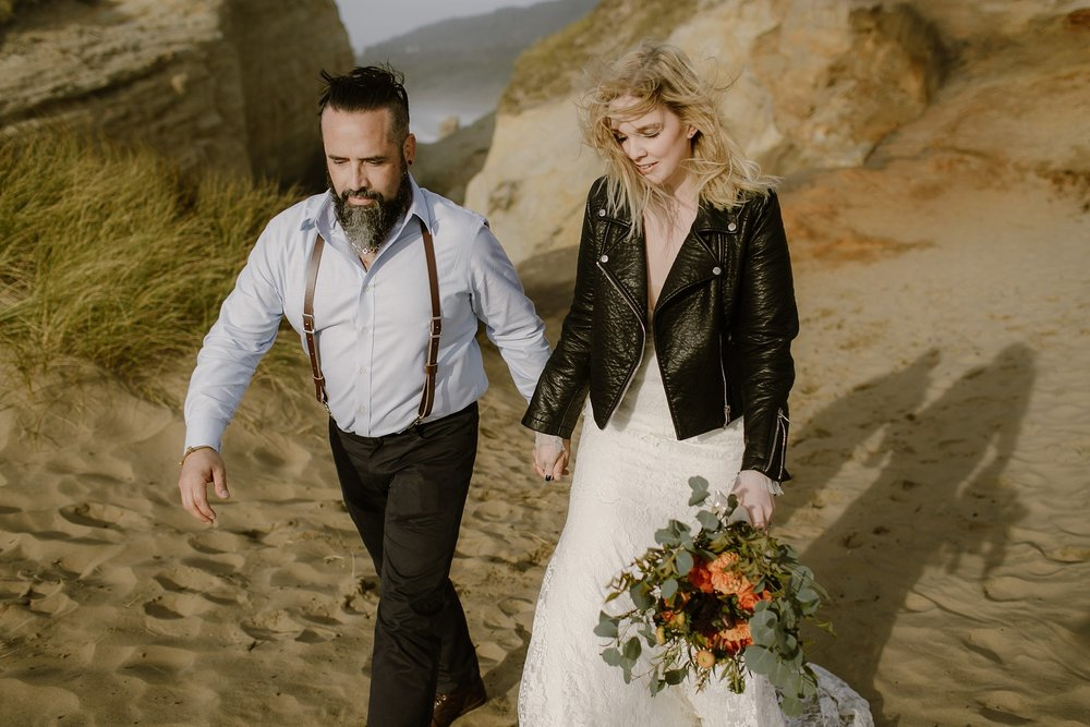 A bride in a moto jacket for her Oregon wedding by photographer Catalina Jean Photo