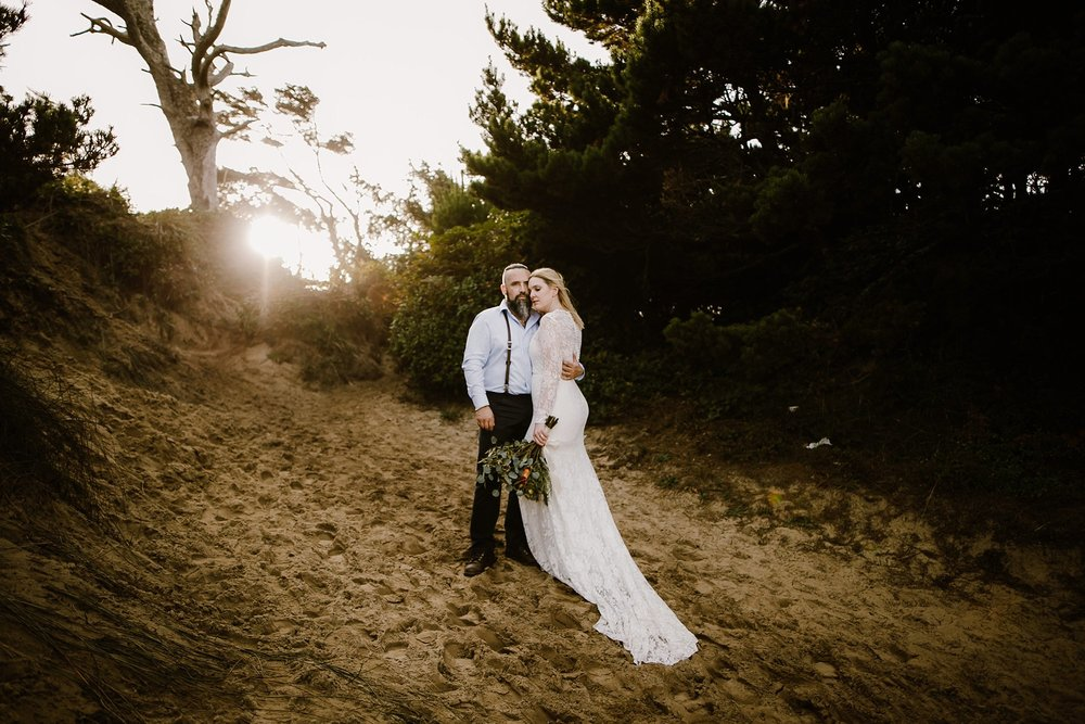Beach sunset wedding photo by photographer Catalina Jean