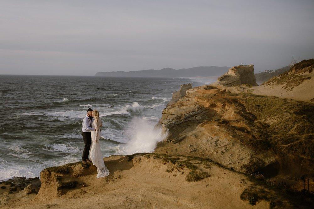 A beach wedding photo by Portland Wedding Photographer Catalina Jean