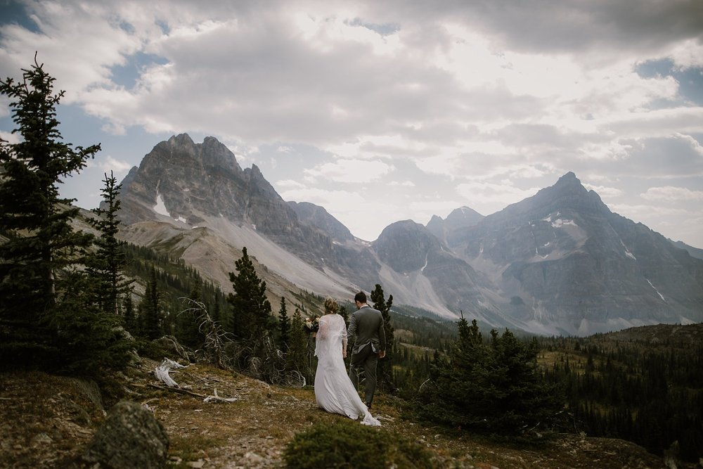 A bride and groom at their wedding in Banff, Canada