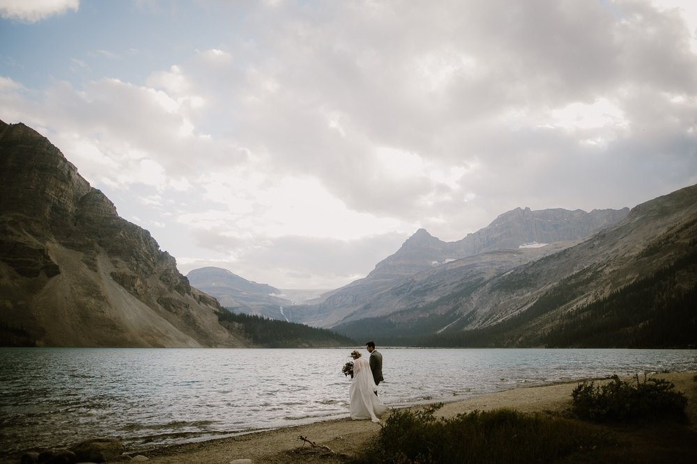 A wedding photo at Bow Lake in Canada