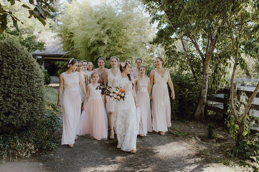 Bohemian pale pink bridesmaids