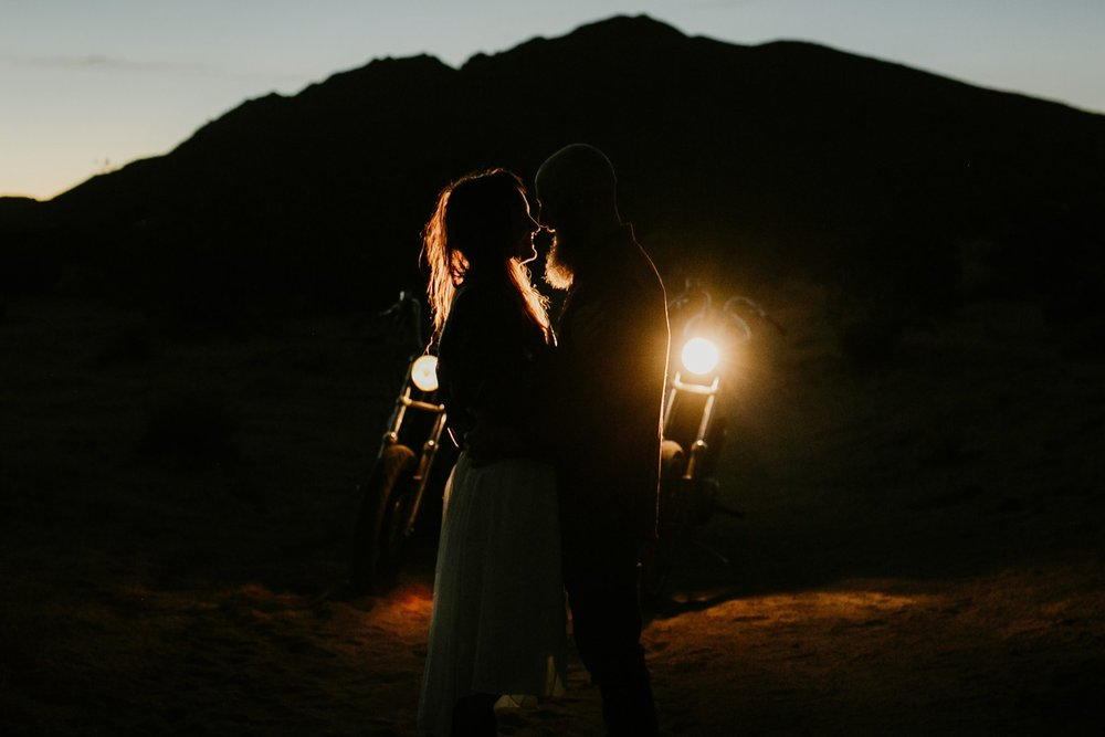 A sunset motorcycle elopement photo