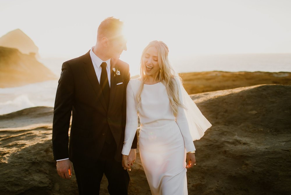 Sunny Oregon Coast bride and groom photo at Cape Kiwanda