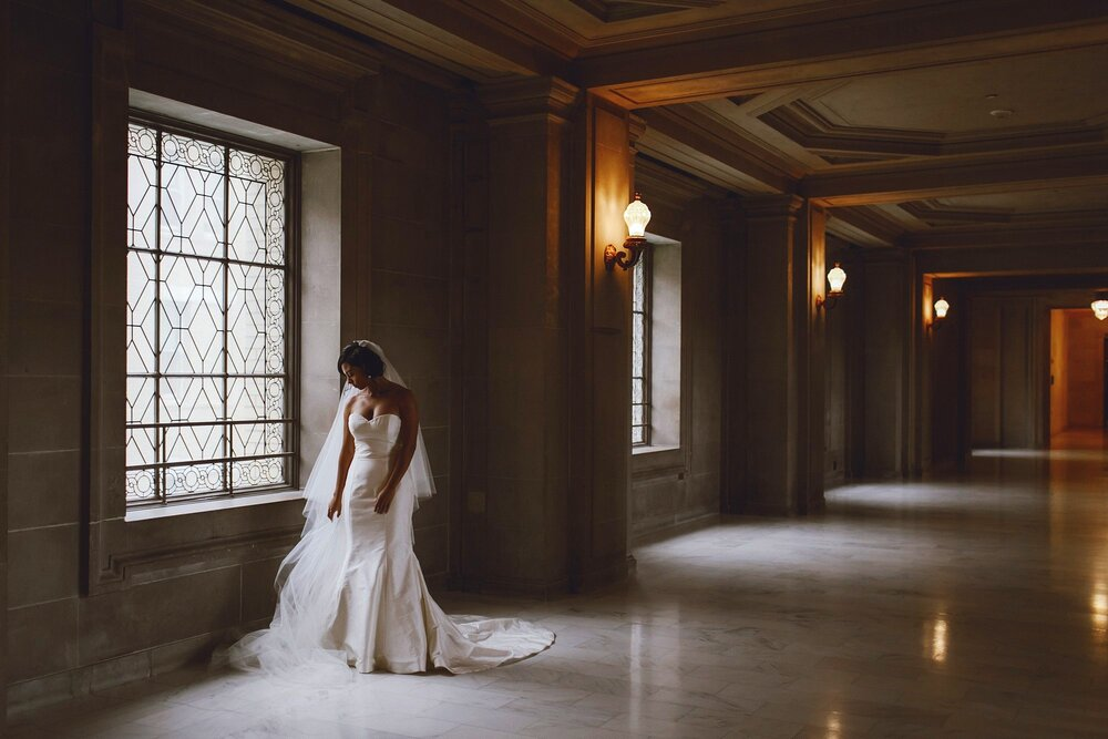 Photo of the bride at San Francisco City Hall