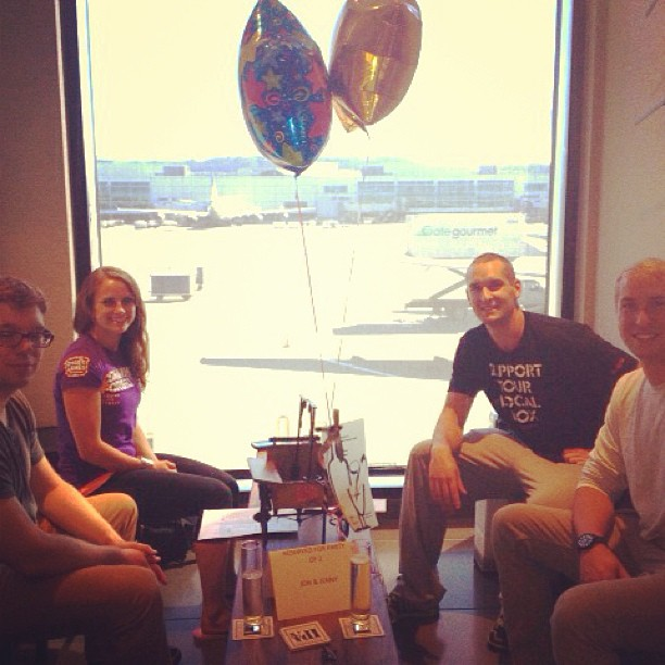 We loved setting up this birthday surprise for Jon and Jenny. Bubbly in our tasting room with view of the runway! 🍻🎉