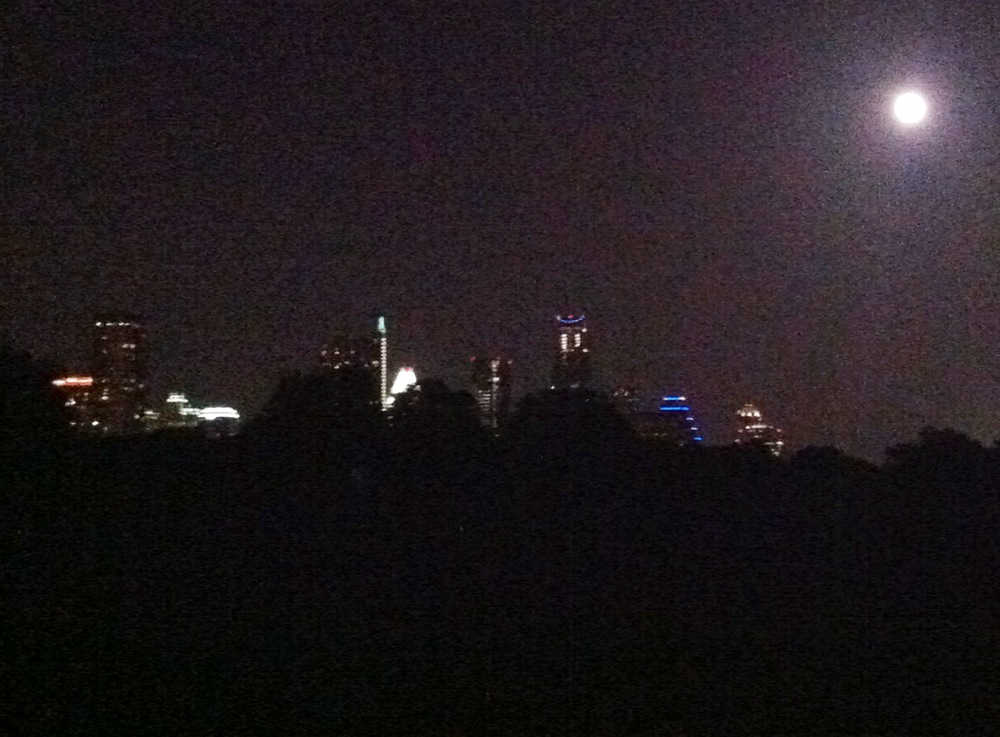 A full moon and the Austin skyline. Enjoying a moment with this view is such a treat!