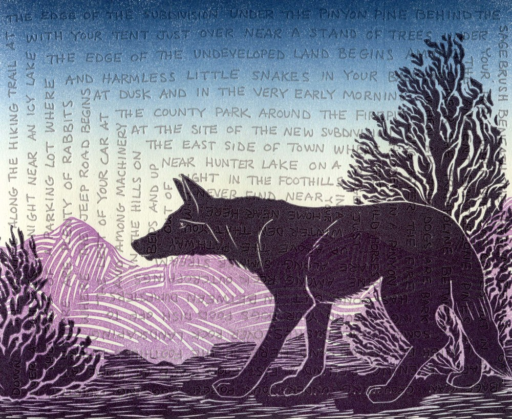 'coyote' linoleum carving