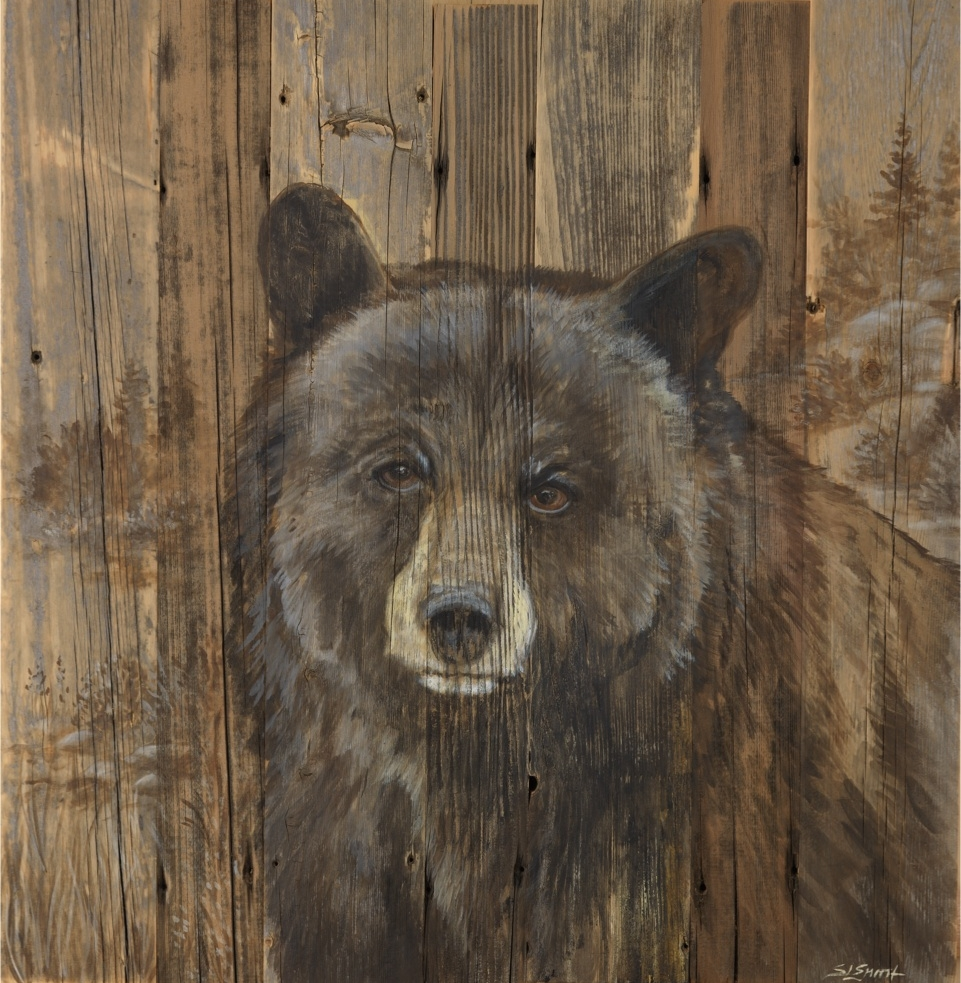 "Tahoe Black Bear. Acrylic on reclaimed Lake Tahoe pier wood.32""x38"""