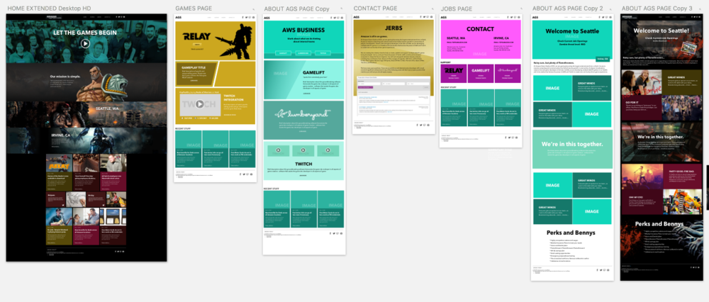 Here are the main pages. While I try to stick to wireframes, sometimes it's difficult for the client to picture what the final image will look like...so it was necessary to offer a little visual design as well.