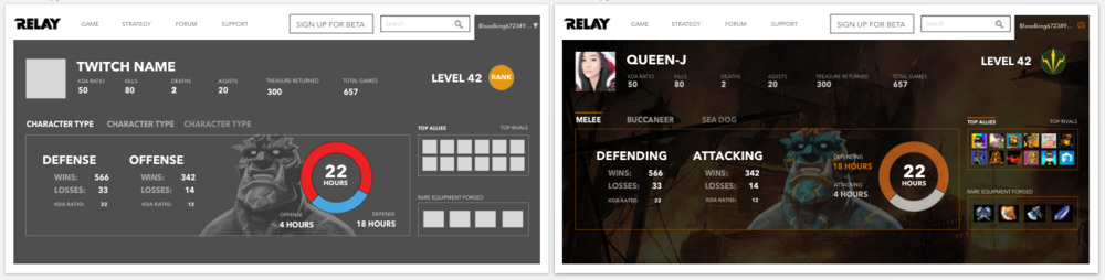 On the left is a wireframe, on the right, the design is slightly more visualized.