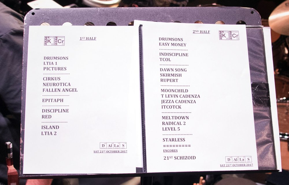 King Crimson Dallas 2017 Set List.JPG