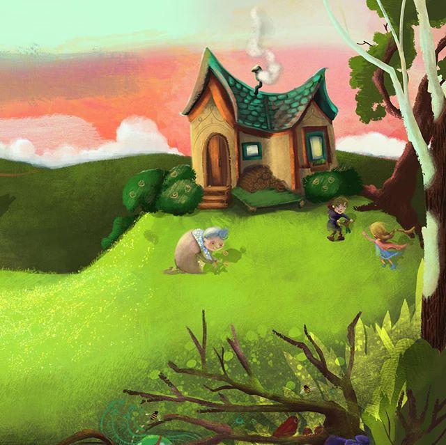 A revamped bright and cozy landscape scene for some upcoming #kidlit erature. 📚 . . . #visdev #digitalart #characterartist #kidlitart #kidlitillustration #cottage #hillside #littletown #illustration #childrensbooks #artstation