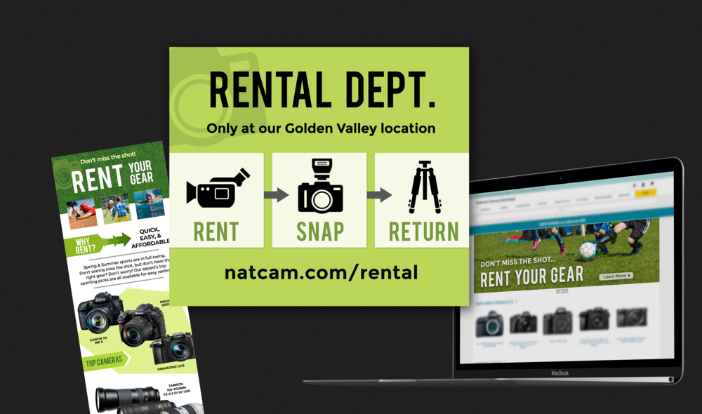 Rental Department Re-branding - The goal was to create a look that stood out to current customers that normally would walk by this section of the store. The focus on the custom branded icons were the start of an overall National Camera brand makeover on natcam.com.
