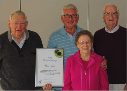 Our 'Four Lifers', Ray Delmenico, Greg Kane, Poppy Bolton (dec) and Barry Rubie AO, our esteemed members holding the highest Award