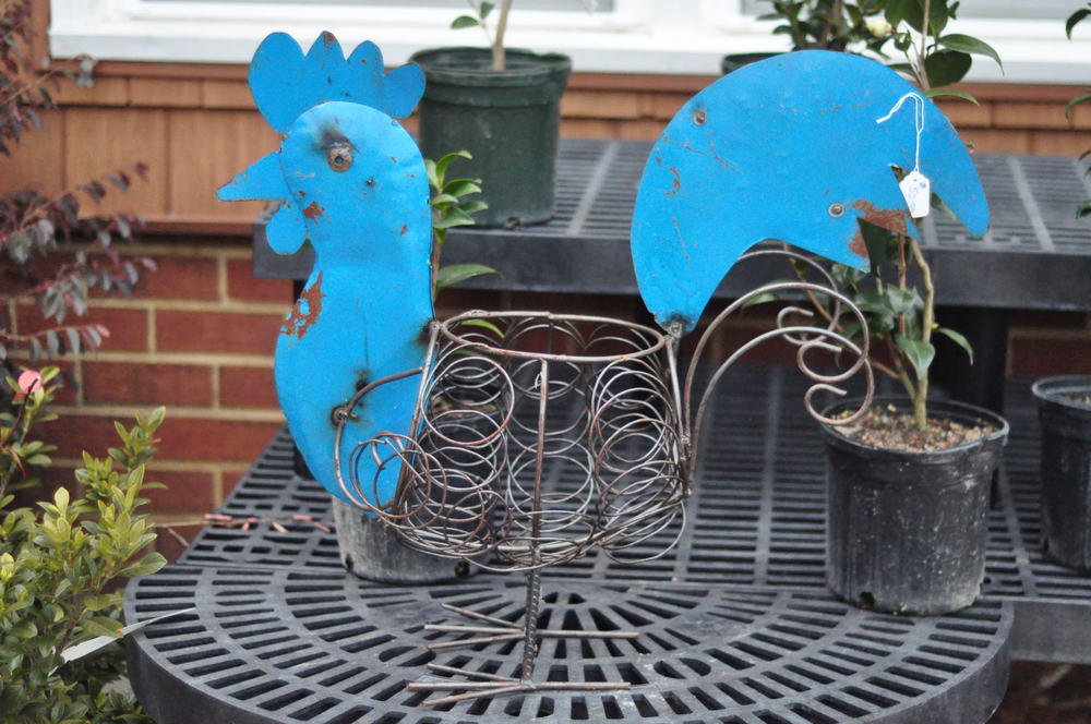 Blue Recycled Tin Rooster Planter