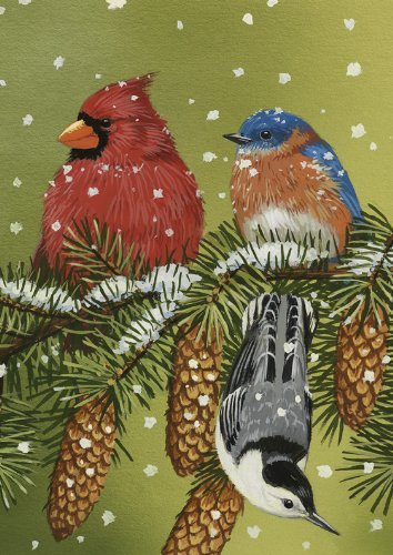 Birds and Pinecone in Snow Garden Flag