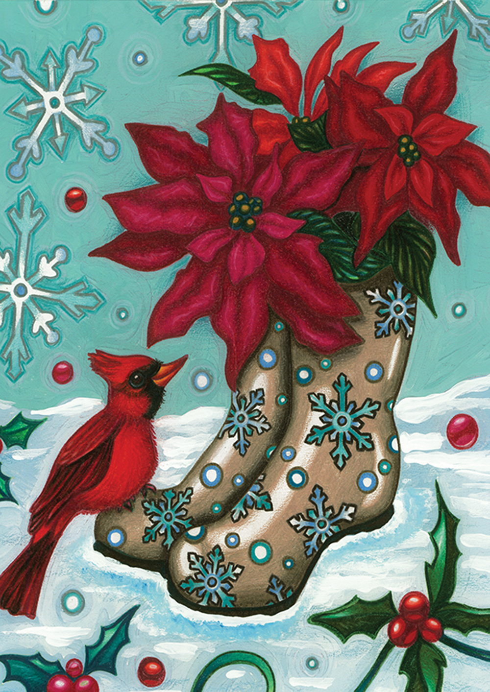 Cardinal and Poinsettia in Snow Garden Flag