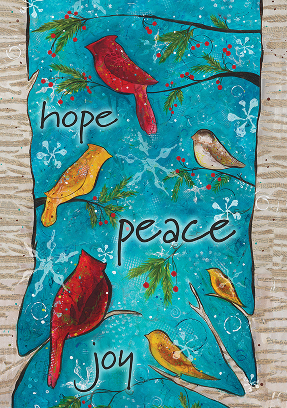 Hope Peace Joy Snowflakes Bird Garden Flag