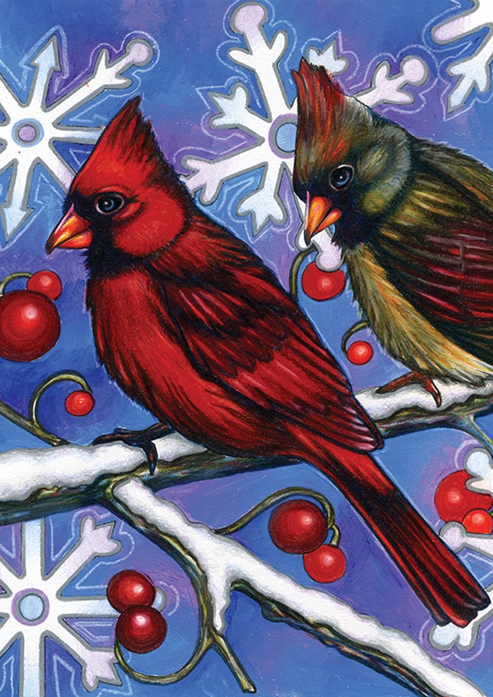Cardinals and Snowflakes Garden Flag