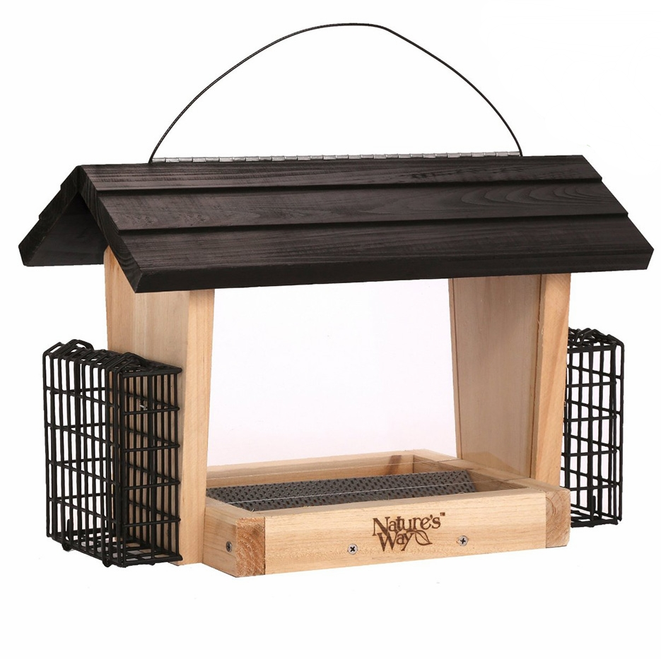 Nature's Way Bird Products CWF19 Cedar Hopper Bird Feeder with Suet Cage.jpg