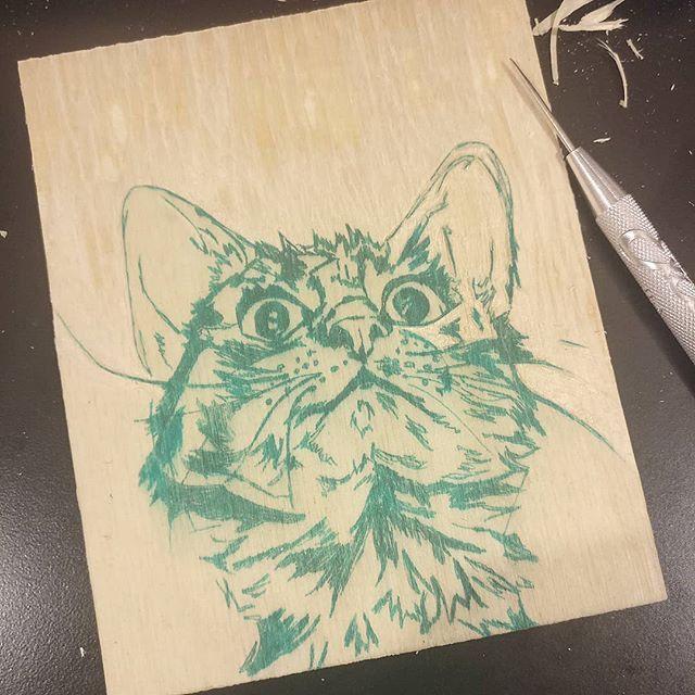 Early photo of a curious kitty woodblock I've started. #wip #woodblock #printmaking #small #detailoriented #cat #gato #kitty #carving #beginning #blockprint #curious #looking #art #artist #artistsoninstagram #process #sketch #print #cute #moretocome #latepost