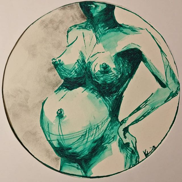 Inktober day 7: Exhausted. Loving this hydrus ink and water soluble graphite! . . . . . . . . #mom #pregnancy #inktober #inktober2018 #inktoberexhausted #green #graphite #ink #inkdrawing #drawingaday #drawing #lineart #art #arte #artist #woman #nude #artoftheday #painting #watercolorpainting #female #pregnant #exhausted #tired #mothernature #fertility