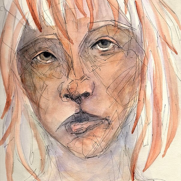 Letting go more of what I think things need before they're finished. Watercolor and pen on paper. . . . . . . . . . . . #watercolor #watercolorpainting #painting #drawing #portrait #art #artist #watercolour #sketchbook #face #unfinished #line #color #layer #kelseyvoganart #instart #orange #violet #originalart #ambiguous #negativespace #pen