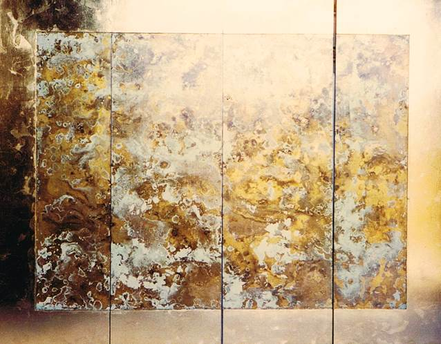 Wall mounted four panel screen. Chemically treated layers of metal leaf on near-white base colour. IMAGES BELOW SHOW SAMPLES MADE ON THE DAY TO TEST THE CHEMICAL'S STRENGTH.