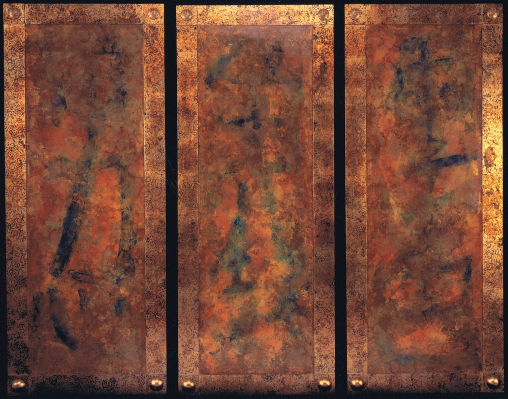 Very large screen wall panels. The border features a hand printed pattern over aged leaf and abstract Chinese calligraphy characters are seen under the chemically treated metal leaf on the center fields. Custom made gilded resin bosses at corners.