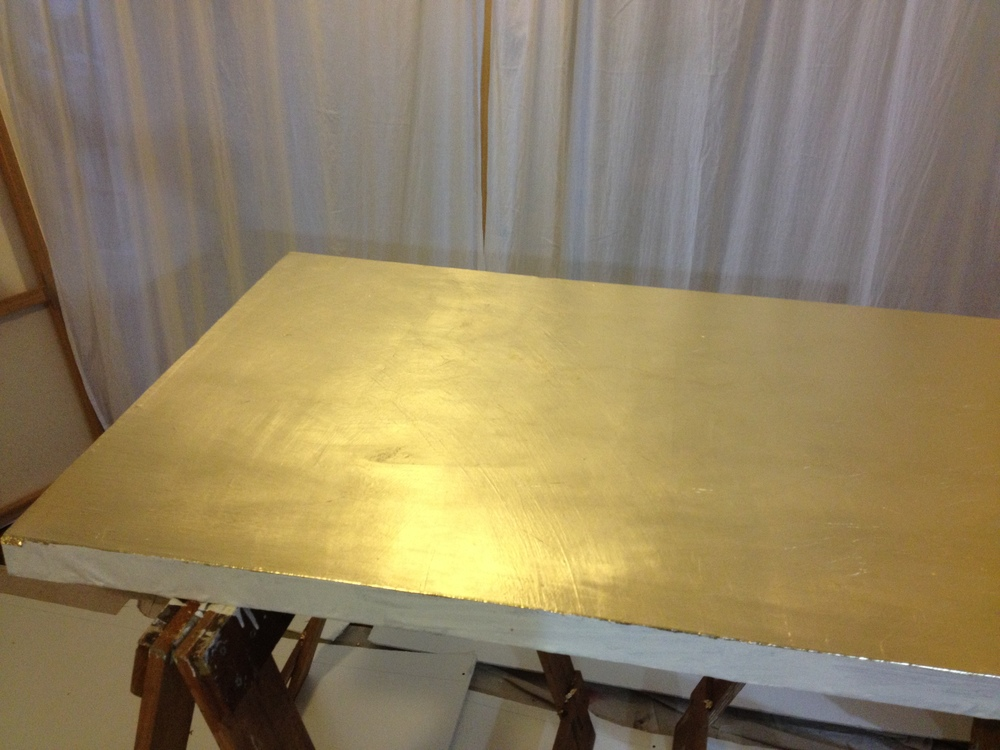 And there you have it. A gilded canvas, ready for artwork.