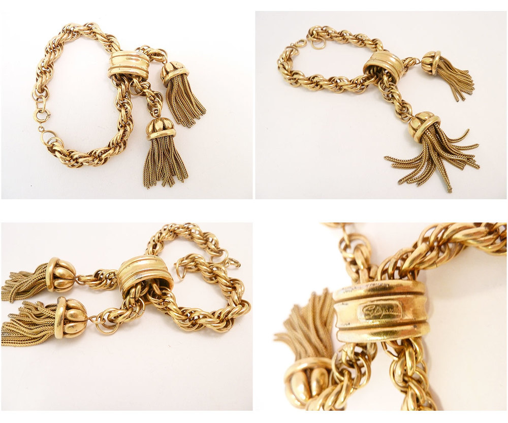 Bee-yoo-di-ful. And mine. Vintage signed Schiaparelli tassel bracelet from Jewel Diva.
